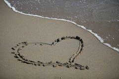 Форма сердца на пляже Стоковое Изображение