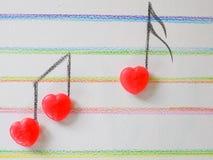 Форма сердца примечания музыки от конфеты, валентинки, Wedding Стоковые Изображения
