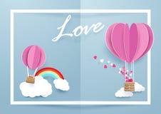 Форма сердца раздувает летать над облаками и радугой в белой предпосылке рамки иллюстрация вектора