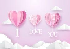 Форма сердца раздувает смертная казнь через повешение с я тебя люблю словом над небом иллюстрация вектора