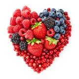 Форма сердца свежих ягод Стоковые Изображения RF