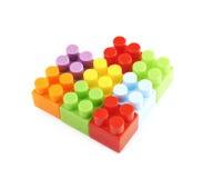 Форма сердца сделанная кирпичей игрушки Стоковые Изображения RF