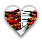 Форма сердца с перцами chili внутрь иллюстрация штока