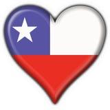 форма сердца флага Чили кнопки Стоковое Изображение RF
