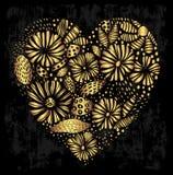 Форма сердца элегантного золота орнаментальная Иллюстрация вектора