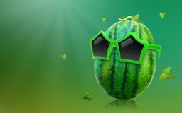 Форма солнечных очков и звезды арбуза нося на предпосылке лета с концепцией тропического плода иллюстрация вектора