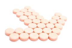 Форма таблетки, направления указателя На белой предпосылке Стоковое Изображение RF