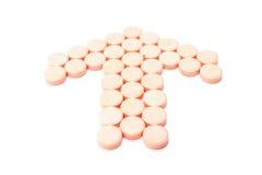Форма таблетки, направления указателя На белой предпосылке Стоковые Фото