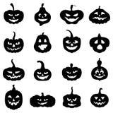 Форма тыкв хеллоуина различная с страшными сторонами иллюстрация вектора