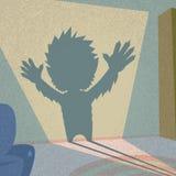 Форма хеллоуин силуэта тени оборотня ретро Стоковое Изображение