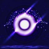 Форма шарика глаза технологии ворот цифров к будущему фиолетовому неоновому lig иллюстрация вектора