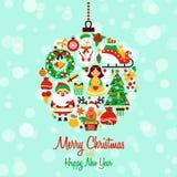 Форма шарика значков рождества Стоковая Фотография
