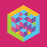 Форма шестиугольника при вписанные кубы вектор Стоковая Фотография RF