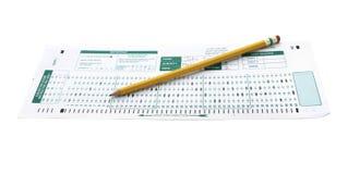 Форма экзамена с карандашем школы стоковое фото
