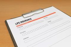 Форма для заявления страхования жизни стоковое фото