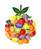 Форма Apple сделанная от плодоовощей для вашей конструкции Иллюстрация штока