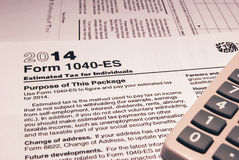Форма 1040-ES IRS Стоковое Изображение