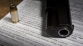 Форма NICS приобретения оружия с линией увольнения с лишением прав и привилегий Стоковое Изображение RF