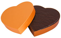 форменное шоколада коробки золотистым изолированное сердцем открытое Стоковое Изображение