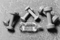 Формировать и фитнес Разминка и концепция спорта Гантели сделанные из розовой, зеленой и cyan пластмассы стоковые фотографии rf