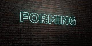 ФОРМИРОВАТЬ - реалистическая неоновая вывеска на предпосылке кирпичной стены - 3D представил изображение неизрасходованного запас иллюстрация штока