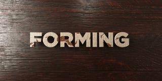 Формировать - grungy деревянный заголовок на клене - 3D представил изображение неизрасходованного запаса королевской власти иллюстрация штока