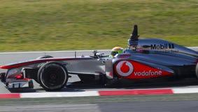 Формула-1 объениняется в команду дни испытания на цепи Catalunya Стоковая Фотография RF