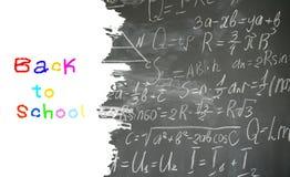 Формулы математики на черной доске стоковые изображения rf