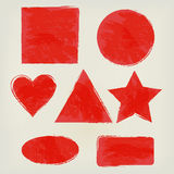 Формы акварели брызгают треугольник, круг, сердце, эллипсис, прямоугольник, квадрат, играют главные роли красный цвет Покрашенные Стоковые Изображения RF
