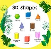 Формы вектора 3d Воспитательный плакат для детей Комплект форм 3d Твердые геометрические формы Куб, cuboid Иллюстрация вектора