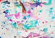 Формы воска акварели яркие и сверкная света, абстрактная предпосылка Стоковая Фотография RF