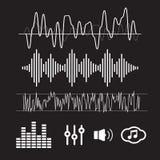 Формы волны вектора ядровые вектор звука иллюстрации предпосылки черный развевает белизна Стоковое Изображение