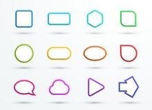 Формы рамок текстового поля цвета вектора 3d различные установили 12 Стоковая Фотография