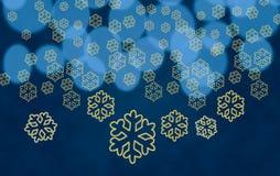 Формы снежинки против светов вала Стоковые Изображения
