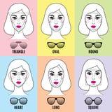 Формы солнечных очков женщин для различных форм стороны Стоковое Фото