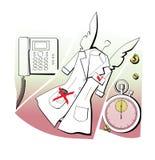 Корпоративные этики Формы с крыльями ангела, временем, доступностью Внутреннее сообщение, секундомер и белая роба Медицина и бесплатная иллюстрация