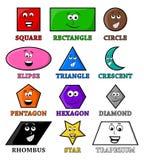 Формы шаржа геометрические с значком символа вектора улыбки конструируют Стоковое Изображение RF