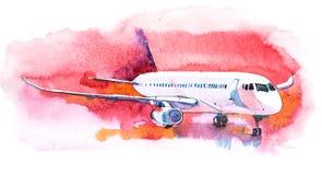 Форточка на авиапорте на поле взлета иллюстрация штока