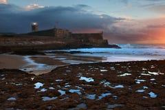 Форт в пляже Carcavelos Стоковое Изображение