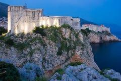 Форт Lovrijenac на ноче dubrovnik Хорватия Стоковое Фото