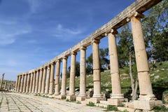 Форум (овальная площадь) в Gerasa (Jerash), Джордане Стоковые Изображения RF