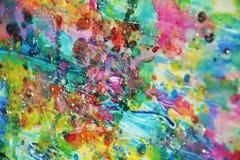 Фосфоресцентные голубые розовые пятна, вощиют пастельную яркую краску акварели, красочные оттенки Стоковое Изображение RF