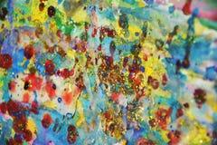 Фосфоресцентные голубые розовые пятна, краска акварели красного воска пастельная яркая, красочные оттенки Стоковая Фотография