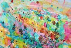 Фосфоресцентные голубые розовые пятна, пастельная яркая краска акварели, красочные оттенки Стоковые Изображения