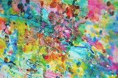 Фосфоресцентные розовые пятна, пастельная яркая краска акварели, красочные оттенки Стоковое Изображение