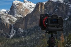 Фотографировать долину Yosemite стоковое фото