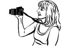 Фотографировать фотографа девушки эскиза вектора Стоковая Фотография RF