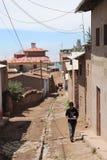 Фотография деревни в горе перуанского Сьерра стоковая фотография rf