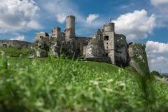 Фотография замка Ogrodzieniec руин Стоковые Изображения