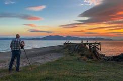 Фотография захода солнца & Portencross Шотландия стоковые изображения rf